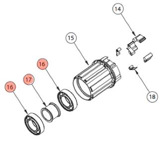 E13 - Kit cuscinetti ruota libera (2 cuscinetti 6902 + distanziale)